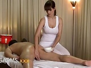 ORGASMS HD Sexy massage from busty brunette woman